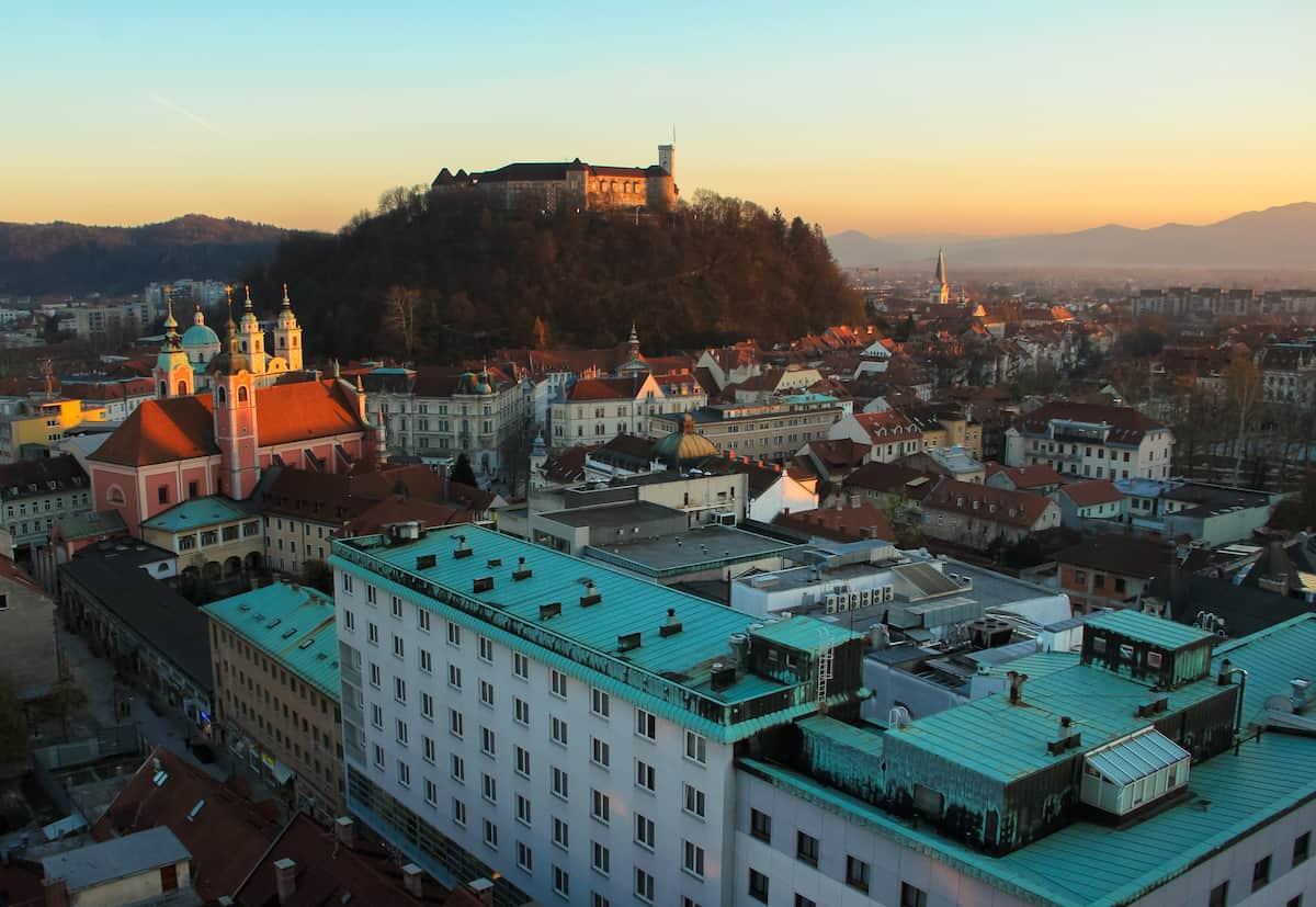 Ljubljana Slovenia - Ljubljana castle from Neboticnik skyscraper