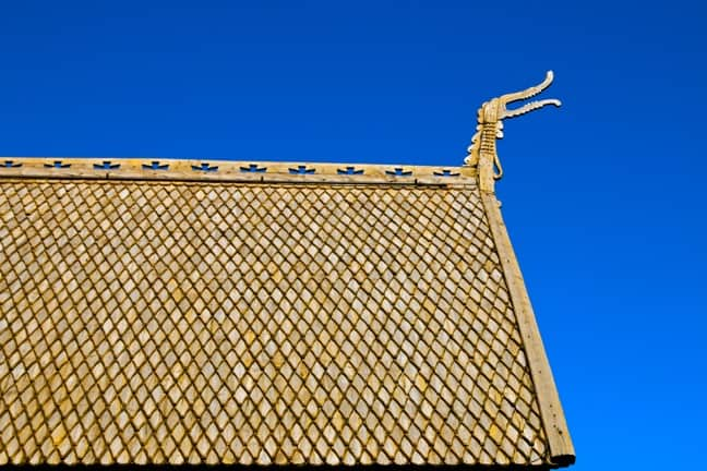 Dragon Detail on the Roof of the Lom Stave Church, Norway