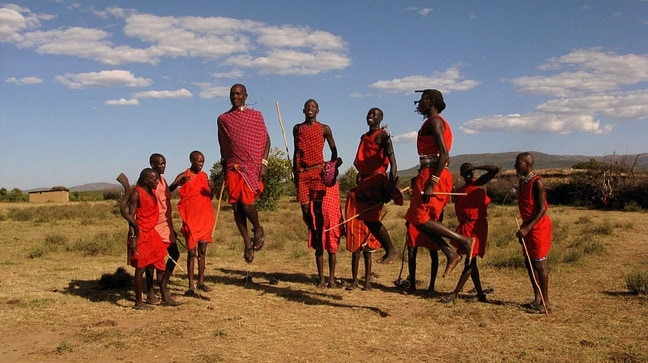 Maasai Warriors Traditional Dance Known As Adumu