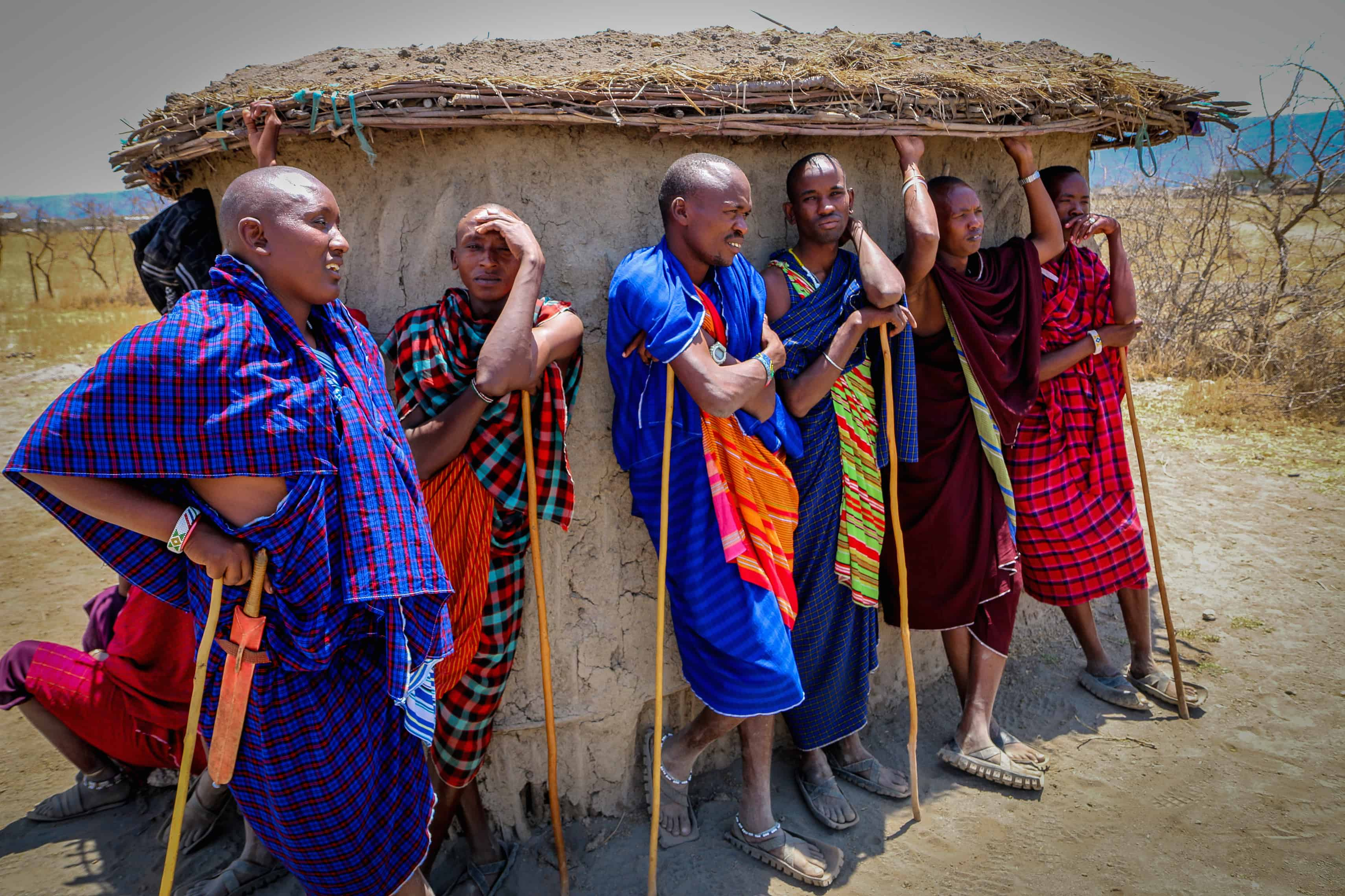 Maasai Men in a Traditional Village in Tanzania
