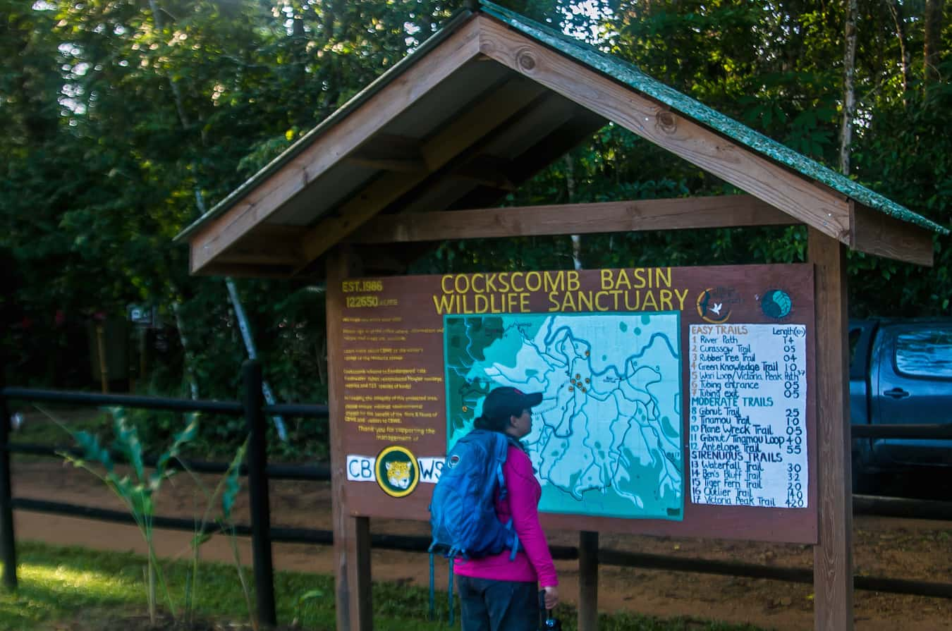 Map of Cockscomb Basin Wildlife Reserve Hiking Trails