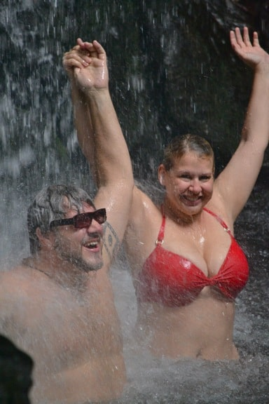 Bret Love & Mary Gabbett in Emerald Pool Falls, Dominica