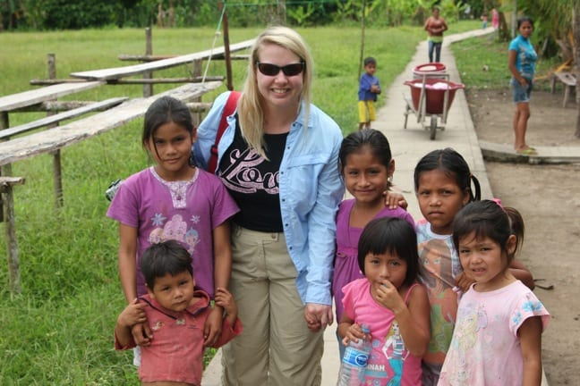 Mary Gabbett With Riberenos Kids in Peruvian Amazon