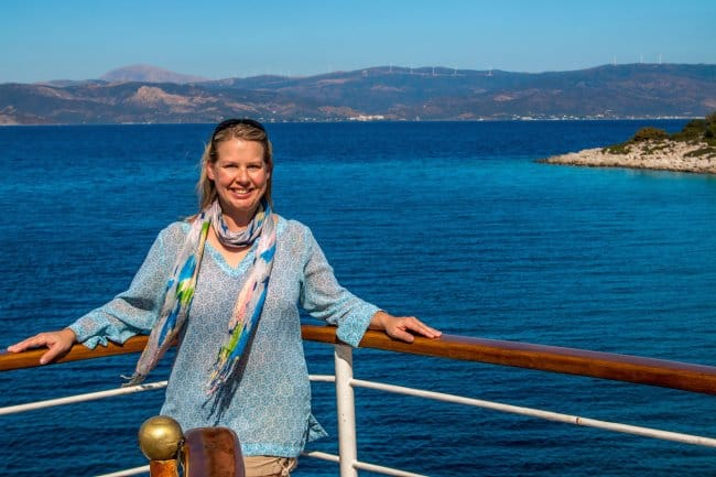 Mary Gabbett in Saronic Islands, Greece