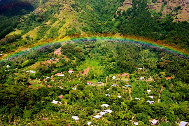 A Rainbow over the valley in Moorea, Tahiti