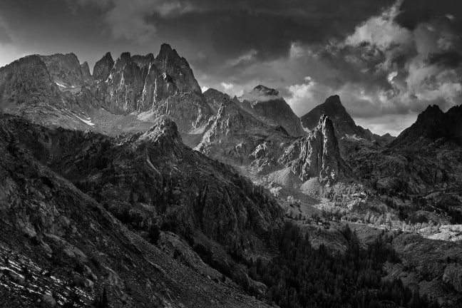 Ansel Adams Wilderness, California. Minarets from Nancy Pass, afternoon thunderstorm.