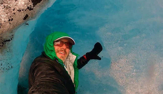 Bret Love inside a glacier in Norway