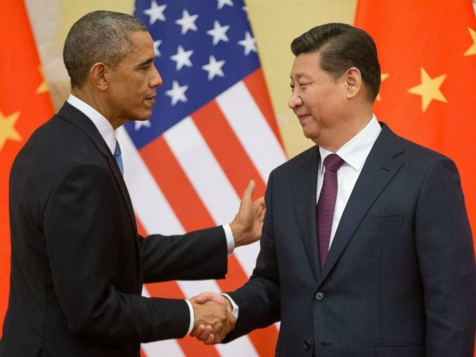 President Obama of the U.S.A. and President Xi Jinping of China. Photo by AP