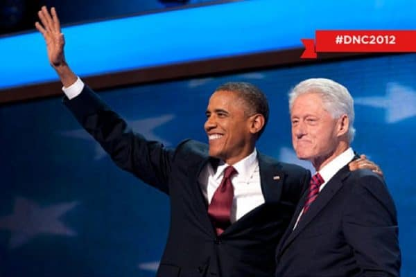 President Obama and Bill clinton at the 2012 DNC