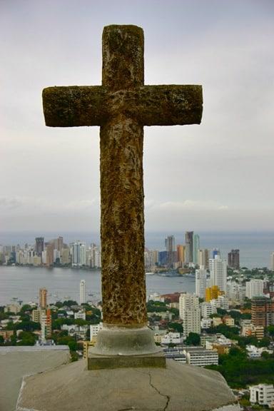 Vista de Bocagrande desde La Popa en Cartagena, Colombia