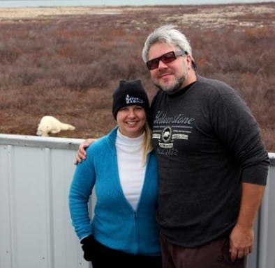 Bret Love & Mary Gabbett with Polar Bears in Churchill, Manitoba