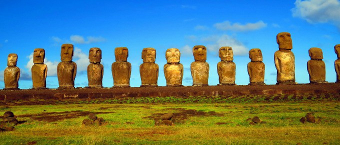 Rapa Nui National Park Easter Island- line of Moai statues