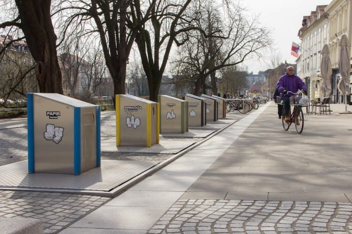Ljubljana Slovenia - Recycling units in Ljubljana city center