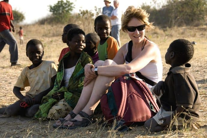 Responsible Travel with local children: Helen Matthews at Chikumbi Community Centre