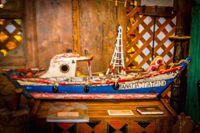 A Model Boat Pays Tribute to Oia's Merchant Fleet  in Santorini, Greece