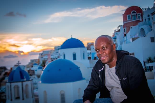 Kerwin McKenzie of Cruisin Altitude in Oia, Santorini