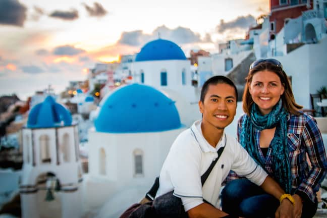 Hai and Jessica of Notes of Nomads in Oia, Santorini