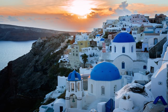 Sunset in the Village of Oia in Santorini, Greece