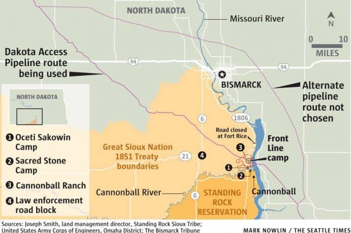 Standing Rock Sioux Tribe No DAPL Map