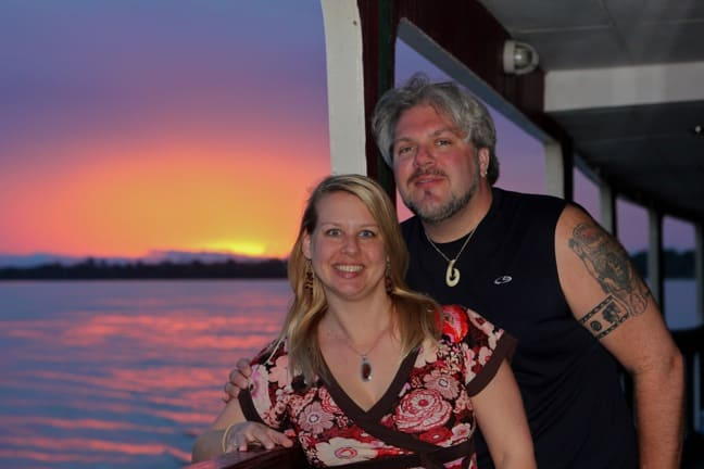 Bret love and Mary Gabbett at Sunset in the Peruvian Amazon