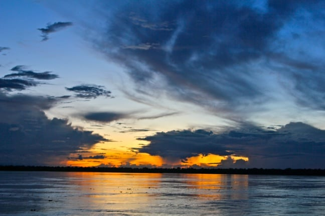 Sunset in the Peruvian Amazon