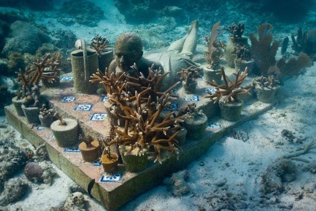 """The Gardener Of Hope"" Installation at Cancun Underwater Museum"