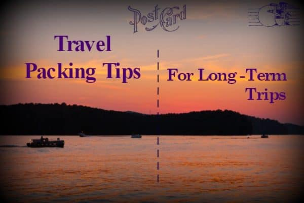 Travel Packing Tips for long term travel post card