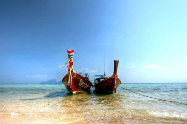 Two long tail boats- Koh Kradan Beach, Thailand