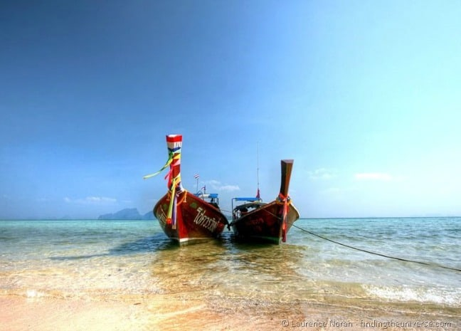 Two long tail boats- Koh Kradan Beach, Thailand