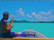Ukelele serenade during a boat ride in Bora Bora, Tahiti