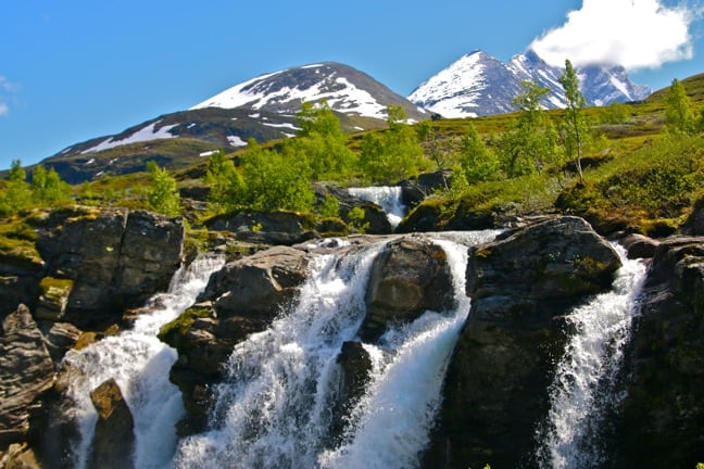 Waterfalls Along the Climb into the Jotunheimen Mountains