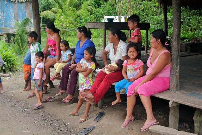 Women and children in Nueva York village, Peruvian Amazon