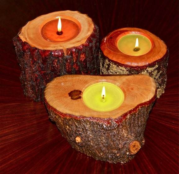 Natural Wood Holds Candles for Timber Candle Company