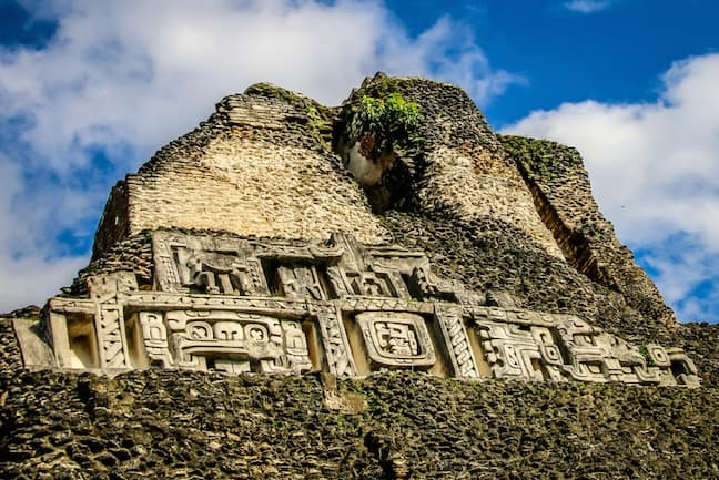 Carvings on the El Castillo Pyramid at Xunantunich, Belize