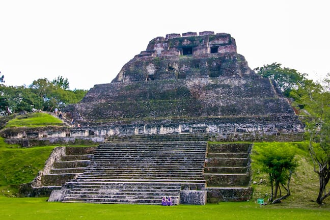 The Base of the Castillo Pyramid at Xunantunich, Belize