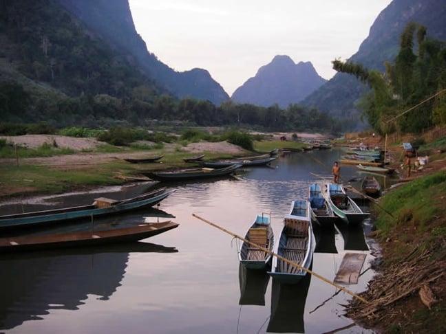 Muang Ngoi long boats