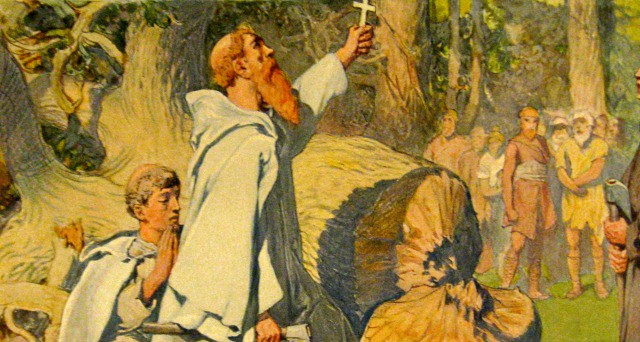 Saint Boniface felling the oak tree Photo Wikipedia - painting by Emil Doepler