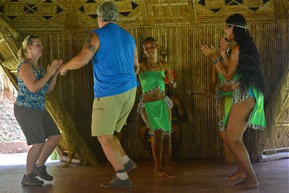 Dancing at the Kalinago Barana Aute in Dominica