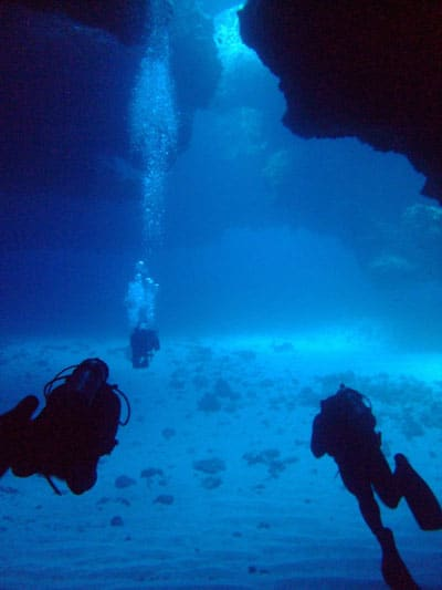 Diving Cathedral Cave in Eua, Tonga