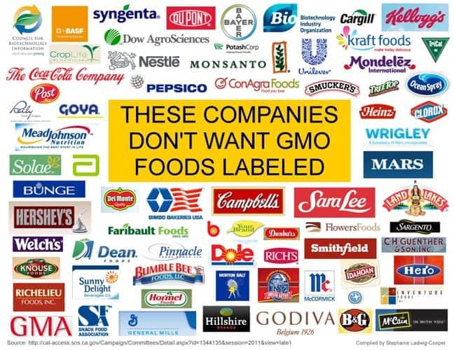 Anti-Prop 37 GMO Foods Companies
