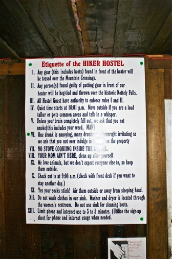Appalachian Trail hiker hostel etiquette