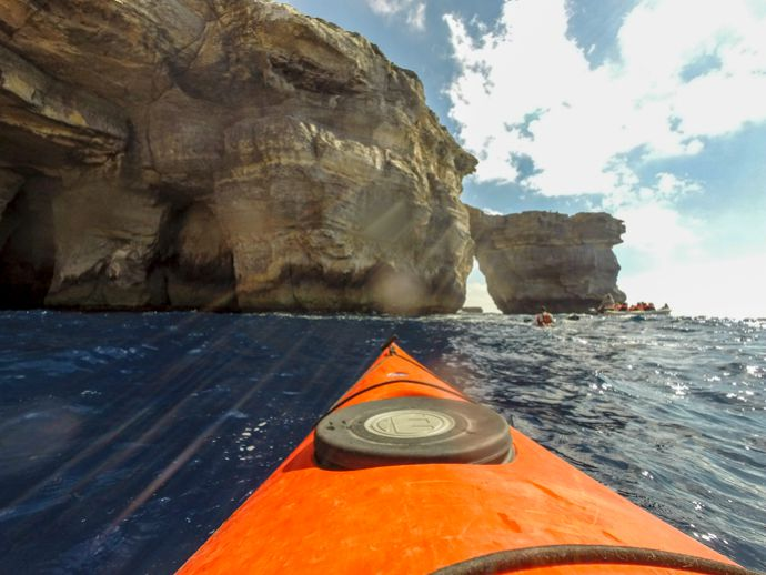Kayaking to the Azure Window