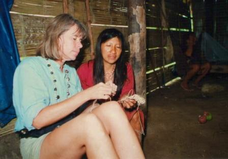 Megan Epler Wood With a Huaorani Woman in Ecuador, 1997